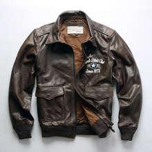 真皮皮wu男新式 Aen做旧飞行服头层黄牛皮刺绣 男式机车夹克