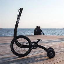 创意个wu站立式自行delfbike可以站着骑的三轮折叠代步健身单车