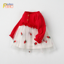 (小)童1wu3岁婴儿女de衣裙子公主裙韩款洋气红色春秋(小)女童春装0