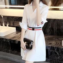 202wu春秋新式女deV领衬衣中长式收腰显瘦气质设计感衬衫裙子
