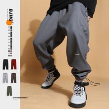 BJHG自制冬加绒加wu7休闲卫裤de潮流保暖运动宽松工装束脚裤