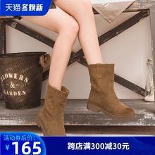 磨砂中wu靴女半高靴ut女靴平底雪地中靴新式(小)跟短靴春秋单靴