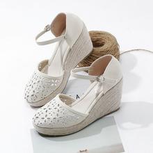 202wv春季新式镂yg波西米亚麻底坡跟包头凉鞋(小)清新草编高跟女