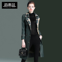 海青蓝ww装2020cp式英伦风个性格子拼接中长式时尚风衣16111