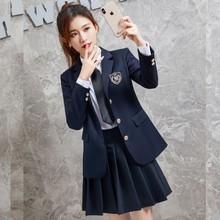 西装Jww外套女西服jw春秋西装长袖徽章制服学生上衣设计感(小)众