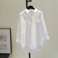 双口袋前短后长白色棉衬衫