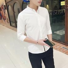 春式立ww衬衫男士七kt款修身潮流短袖衬衣帅气纯白色休闲中袖