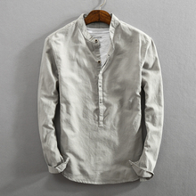 简约新ww男士休闲亚kt衬衫开始纯色立领套头复古棉麻料衬衣男