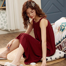 睡裙女ww季纯棉吊带rb感中长式宽松大码背心连衣裙子夏天睡衣