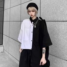 衬衫女设计感(小)众复古黑白拼ww10短袖衬rbins宽松bf上衣潮