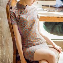 日常可ww时尚改良款ga年轻式短少女中国风复古中式棉麻星