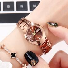 手表女wy防水大(小)石y2表超薄双日历商务时尚女表星期钢带日期