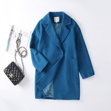 欧洲站wy毛大衣女2ok时尚新式羊绒女士毛呢外套韩款中长式孔雀蓝
