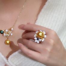 顺景新式黄钻wy3缀奢华手ok色珍珠戒指12mm大颗正圆珍珠指环