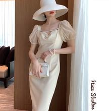 禾枝 wy式V领泡泡ok显瘦气质连衣裙女神范裙子2020年新式夏天