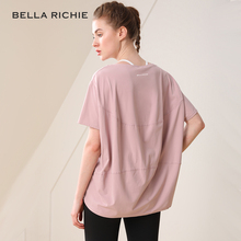 BELwzA裸感速干sw力纯色运动健身短袖中长宽松女半袖T恤瑜伽服