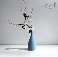 禅意北wz地中海欧式zb陶瓷灰黑蓝色花瓶现代简约装饰软装摆件