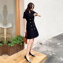 赫本风wz典(小)黑裙子pp20夏季新式职业双排扣短袖西装连衣裙鱼尾
