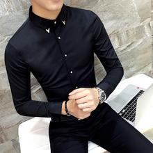 男士长x0衬衫男韩款29流帅气黑色衬衣修身加绒发型师秋冬寸衫