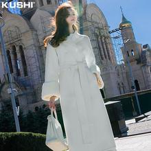 赫本风毛呢大衣女2020年x010式中长29呢子高档白色毛毛外套