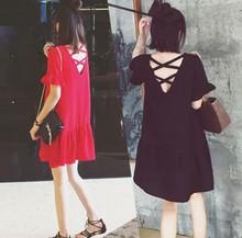 加大码女装夏装性感仙女t恤裙胖妹妹x014m遮肚29雪纺连衣裙