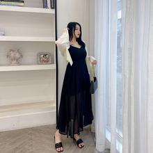 希同儿大码女装胖mm夏装宽松显瘦x013领黑色29洋气吊带长裙