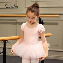 Sanx9ha 法国0g童芭蕾TUTU裙网纱练功裙泡泡袖演出服