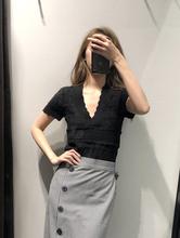 外贸女x9 西班牙单9w品修身显瘦蕾丝镂空V领短袖针织衫打底衫