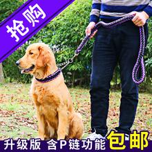 大狗狗x9引绳胸背带9w型遛狗绳金毛子中型大型犬狗绳P链