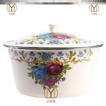 瓷钵子x9盖加厚怀旧9w用厨房装猪油盆调味缸熬搪瓷碗