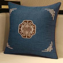 新中式xb木沙发抱枕sh古典靠垫床头靠枕大号护腰枕含芯靠背垫