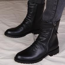 韩款皮xb男士英伦风sh冬季中筒靴男百搭工装靴高帮皮鞋男靴子