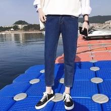 新品潮xb个性乞丐牛kg生带图案修身(小)脚补丁有洞裤子非主流