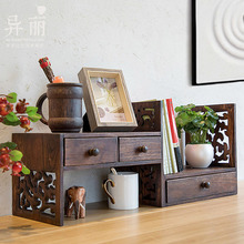 创意复xc实木架子桌pw架学生书桌桌上书架飘窗收纳简易(小)书柜