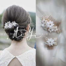 手工串xc水钻精致华ll浪漫韩式公主新娘发梳头饰婚纱礼服配饰