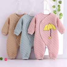 新生儿xc春纯棉哈衣gw棉保暖爬服0-1岁婴儿冬装加厚连体衣服