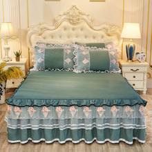 韩款春xc薄式纯色床cw欧式床套防尘垫罩1.5m床笠1.8m