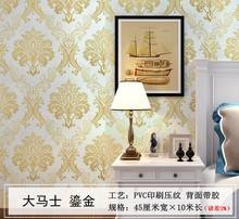 欧款复古大花大马士自xc7墙纸金色lm室客厅壁纸彩装膜墙贴
