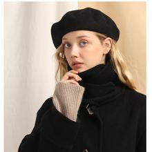 石原里xd羊毛贝雷帽as复古大头围黑色画家秋冬百搭帽子蓓蕾帽