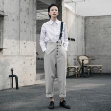 SIMxdLE BLua 2021春夏复古风设计师多扣女士直筒裤背带裤