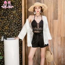 泰国海xf度假白色薄oy开衫女夏季披肩中长式外搭上衣