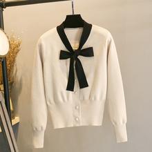 春秋(小)xf风针织开衫oy2020新式高腰短式外套V领上衣毛衣外搭
