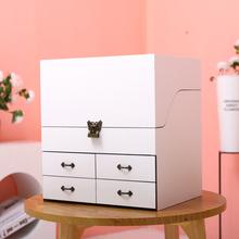 化妆护xf品收纳盒实qx尘盖带锁抽屉镜子欧式大容量粉色梳妆箱