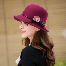帽子女xf冬青中老年ex尚圆顶百搭渔夫帽英伦羊毛呢花朵(小)礼帽