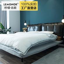 柠檬北欧科技xg3床布艺软ad代极简双的床式主次卧室1.8米1.5