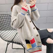 04网xh毛衣开衫女bs长式宽松韩款针织衫线衫很仙的秋冬外套