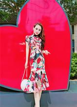 气质名xh夏季新式短bs鱼尾中长裙复古民族图案印花连衣裙