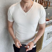 春夏季xh丝短袖针织yt男半袖毛衣V领纯色体恤打底线衫薄