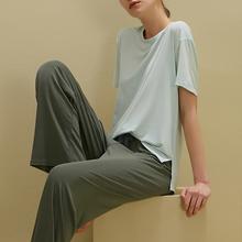 短袖长xi家居服可出ng两件套女生夏季睡衣套装清新少女士薄式