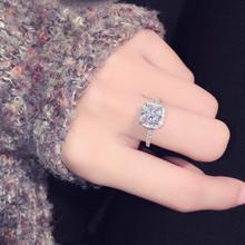 韩国东xi门时尚日韩li闪方形大锆石镶钻气质百搭指环 女